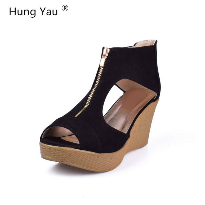 Hung Yau Summer Shoes Woman Platform Sandals Women Soft Leather Casual Peep Toe Gladiator Wedges Women Sandals zapatos mujer nemaone new 2017 women sandals summer style shoes woman platform sandals women casual open toe wedges sandals women shoes