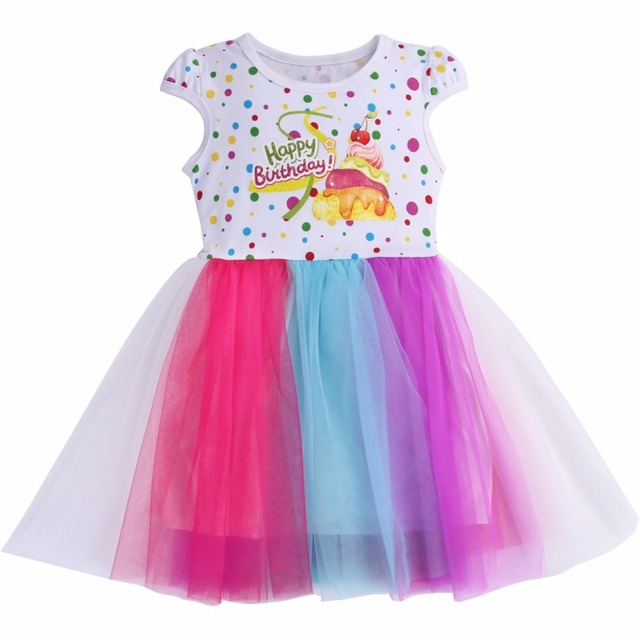Happy Birthday Gift Princess Dresses For Girls 2018 Colorful Flower Girl Lace DressSummer Teens