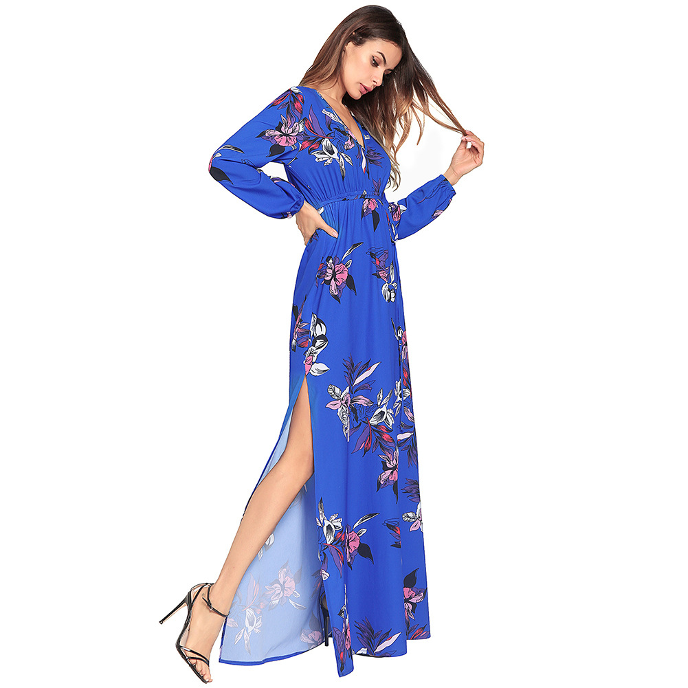 Long Summer Boho Maxi Dress Plus Size Woman Floral Dress Long Sleeves  Female Model Tall Womens Clothing Summer 2018 Uzun Elbise -in Dresses from  Women s ... 5dda9bff2e73