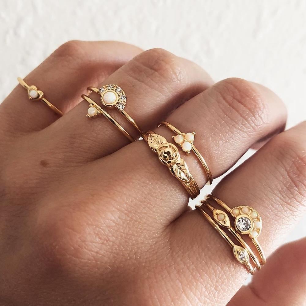 2019 New Gold Crystal Opal Moon Star Eye Rings Set for Women Handmade Geometry Finger Ring Female Jewelry Gifts Drop Shipping in Rings from Jewelry Accessories