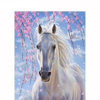 5D DIY Diamant Schilderen White Horse Diamond Painting DIY 5D Embroidery Ribbons Sets Sale Mosaic Drawings