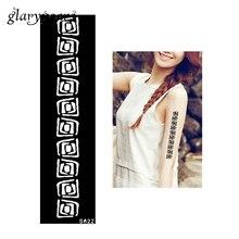 1 Piece Henna Tattoo Stencil Strip Bracelet Design Health Airbrush Painting Women Shoulder Body Art Tattoo Stencil S622