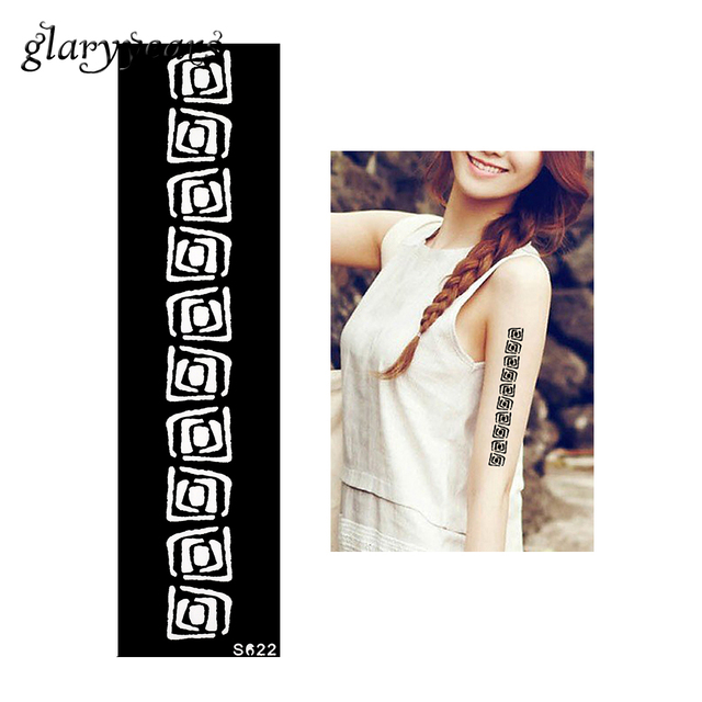 1 Piece Henna Tattoo Stencil Strip Bracelet Design Health Airbrush Painting Women Shoulder Body Art Tattoo Stencil S622
