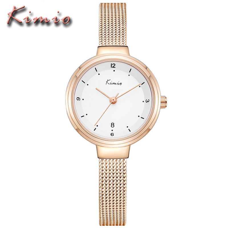 KIMIO Luxury Women Watches Rose Gold Dress Ladies Clock Business Casual Waterproof Stainless Steel Quartz Watch for woman 2018 kimio brand bracelet watches women reloj mujer luxury rose gold business casual ladies digital dial clock quartz wristwatch hot page 6
