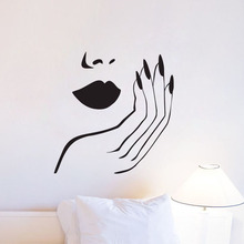 Manicure Salon Wall Decals Vinyl DIY Sexy Girl Wall Stickers Removable Home Decor Wall Murals ehome spa salon wall stickers home decor glass stickers for window decorative vinyl wall decals removable stencils for wall pain