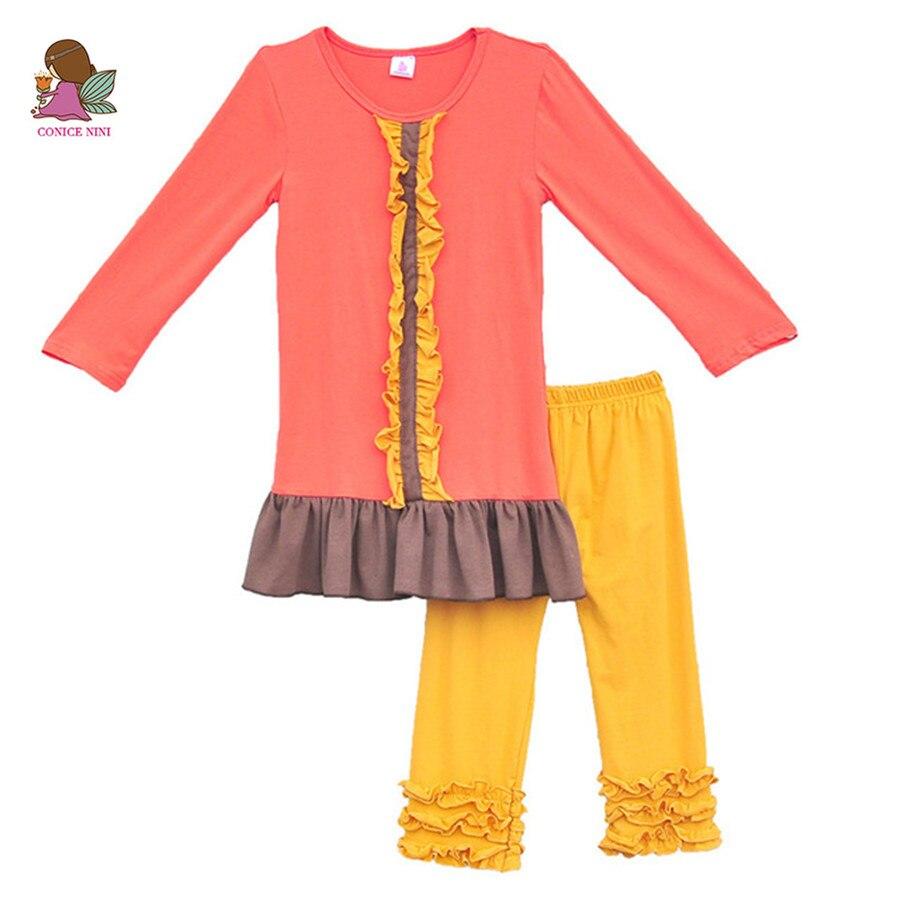 2016 ילדים באביב אופנה בגדי בוטיק בנות תלבושות הסט פרע את שמלות מכפלת בתוספת חותלות כותנה לנשימה צהוב F036