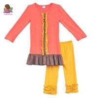 2016 Spring Kids Fashion Girls Boutique Clothing Set Ruffled Hem Dresses Plus Yellow Leggings Breathable Cotton Outfits F036