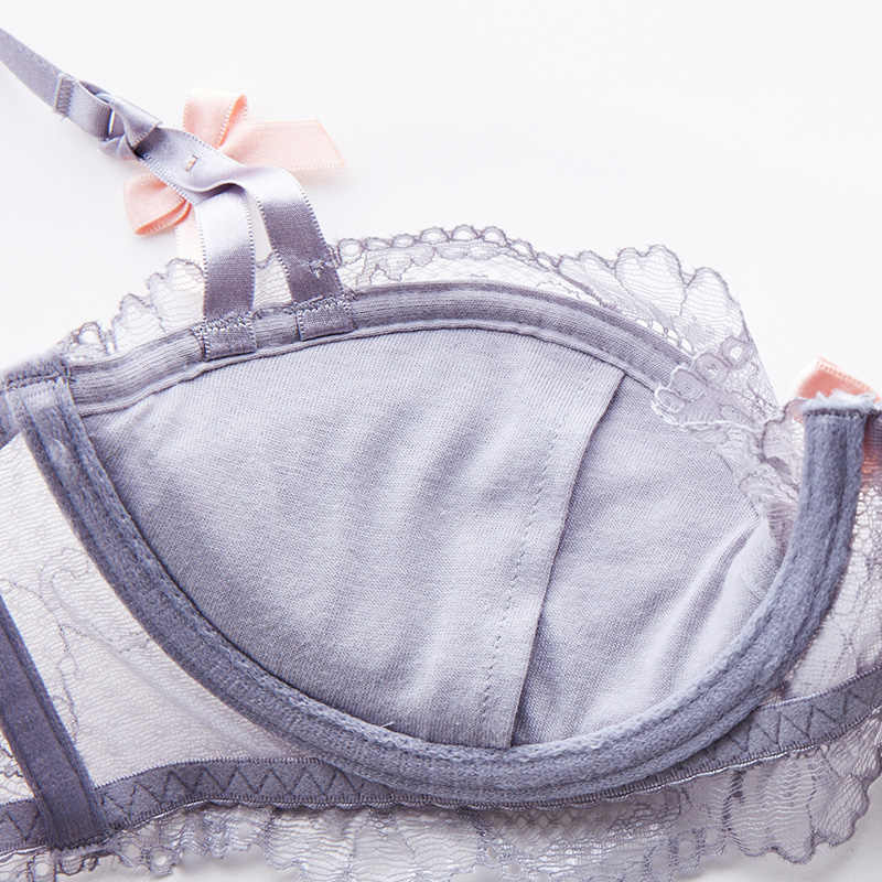 Shaonvmeiwu seksi dantel ince pamuklu iç çamaşırı sutyen seti ile pamuk yastık ekler toplar büyük sutyen