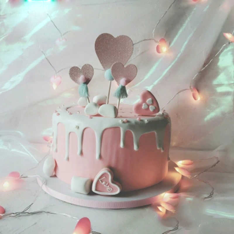 Fabulous 3Pcs Cute Heart Cake Toppers Birthday Cake Top Hat Picking Up Birthday Cards Printable Nowaargucafe Filternl