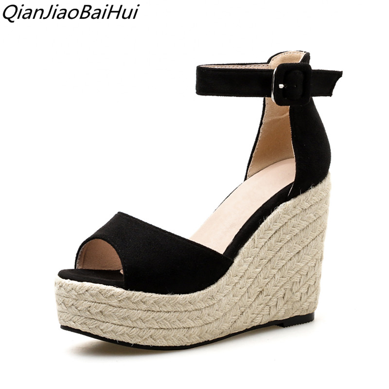 Black color platform high heels 2018 wedge pumps women Fashion Platform High heel Sandals Women Wedges summe shoes woman