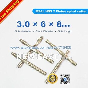 3*6*8*60mm vástago 6mm diámetro de la flauta 3mm 2 Flutes cortador M2AL HSS cortador en espiral de 2 flautas