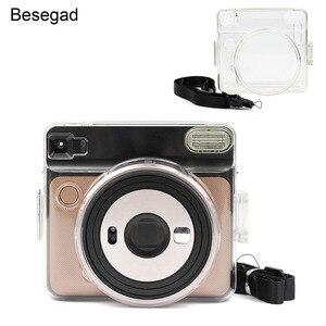 Image 1 - Besegad şeffaf plastik koruyucu kılıf kapak için ayarlanabilir omuz askısı ile Fujifilm Instax kare SQ6 SQ 6 kamera