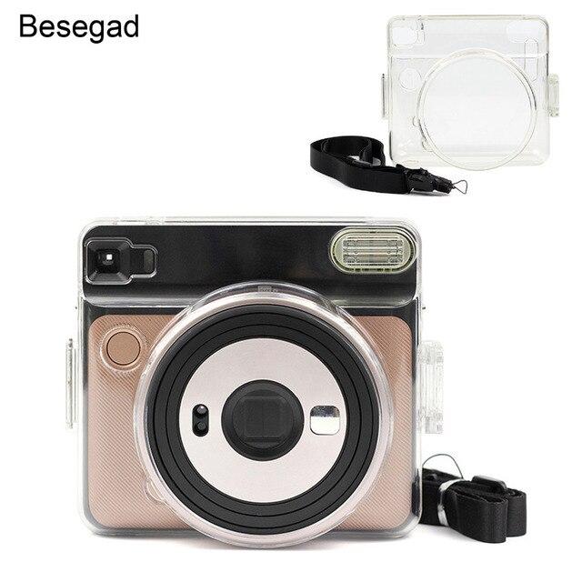 Besegad şeffaf plastik koruyucu kılıf kapak için ayarlanabilir omuz askısı ile Fujifilm Instax kare SQ6 SQ 6 kamera