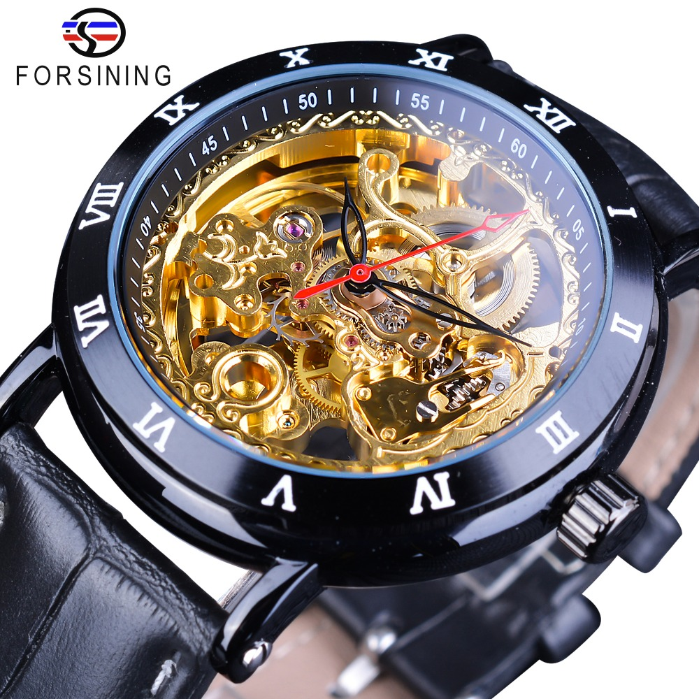 Forsining Royal Flower Carving Gear Golden Movement Genuine Leather Roman Number Bezel Mens Mechanical Watches Top Brand LuxuryForsining Royal Flower Carving Gear Golden Movement Genuine Leather Roman Number Bezel Mens Mechanical Watches Top Brand Luxury