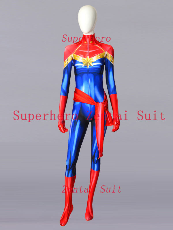 Ms. Marvel Carol Danvers Costume Spandex 3D Printing Female Women Ms. Marvel Superhero Costumes Halloween Cosplay Zentai Suit