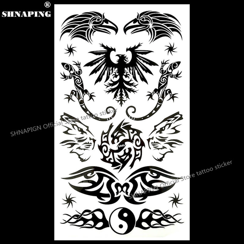 Tattoo & Body Art Beauty & Health Cheap Sale Shnapign Black Wings Lizard Temporary Tattoo Body Art Flash Tattoo Stickers 17*10cm Waterproof Fake Car Styling Wall Sticker