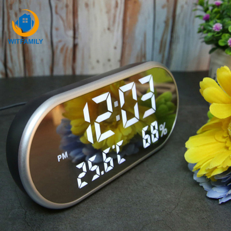 Temperature Display  HD LED Display with Backlight electronic Watch Desktop Clock Mirror Digital Alarm Clock Snooze Table ClocksTemperature Display  HD LED Display with Backlight electronic Watch Desktop Clock Mirror Digital Alarm Clock Snooze Table Clocks