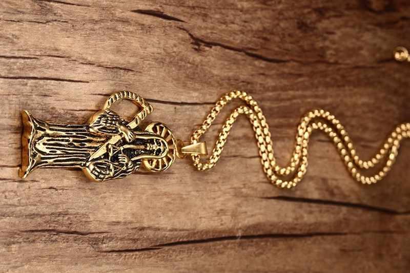 """Męskie naszyjniki Vintage Punk czaszka śmierć ponury żniwiarz czaszka Scythe naszyjnik biżuteria halloweenowa prezent złoty kolor biżuteria 24"""""""