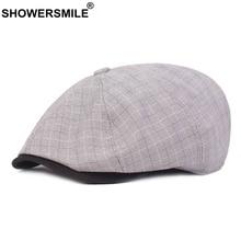 SHOWERSMILE Newsboy Beret Caps Men Cotton Linen Plaid Octagonal Cap Women Grey Checked Duckbill British Style Flat Painter Hat