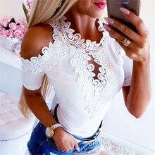 Women Lace Blouse Fashion Short Sleeve Blouses Top Casual Off Shoulder Blouse Tops Womens Blouses An