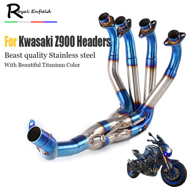 US $209 62 20% OFF|Z900 Mid pipe full System Exhaust For Kawasaki Z900  Motorcycle Modified Muffler Pipe Front Header Pipe Tube Slip On burnt blue  -in