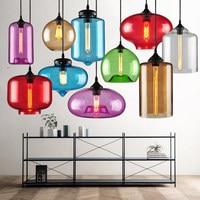 Modern Art stained glass Pendant Lights Novelty Restaurant Cafe Bar Hanging lamps Hotel Edison retro bulb Pendant Lamps 220V AC