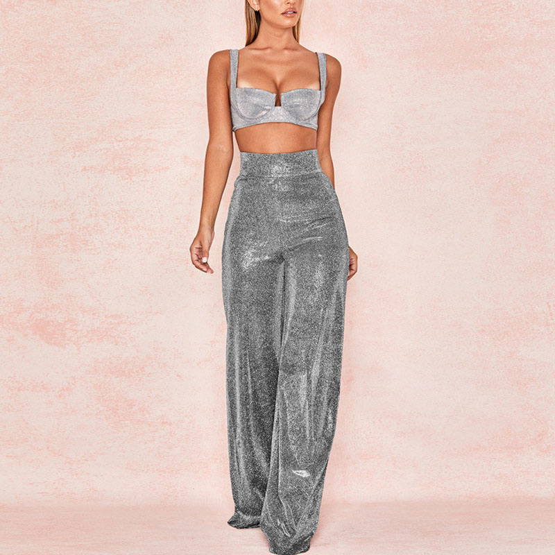 NORMOV Sexy Club Women   Pants   Solid Loose High Waist Zipper Bly Full Length Polyester Shining Party   Wide     Leg     Pants