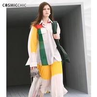 Cosmicchic Лето Для женщин взлетно посадочной полосы блузки с длинным рукавом шелк трикотажные рубашки Высокое Качество Дизайнер Лоскутная Пер