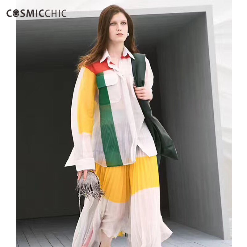 Cosmicchic Summer Women Runway Blouses Long Sleeve Silk Knitted Shirt High Quality Designer Patchwork Perspective Tops Fashion