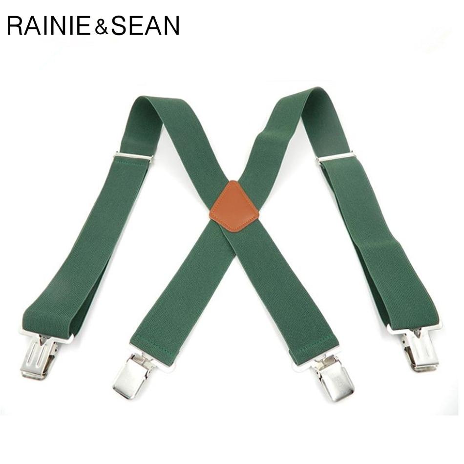 RAINIE SEAN Green Suspenders Belt Men Solid Wide Braces For Trousers Genuine Leather Male Suspender For Shirt 120cm 5cm