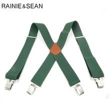 RAINIE SEAN Green Suspenders Belt Men Solid Wide Braces For Trousers Genuine Leather Male Suspender Shirt 120cm 5cm