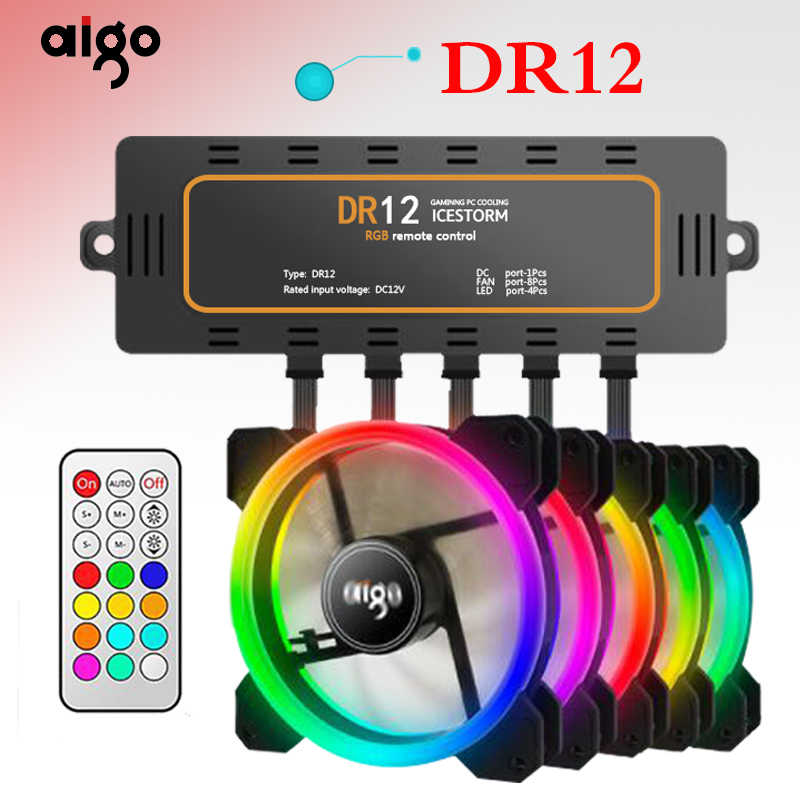 AIGO DR12 قطعة برودة وحدة معالجة خارجية للحاسوب مروحة LED 120 مللي متر مروحة التبريد المزدوج هالو متعددة تغيير وضع RGB مروحة.