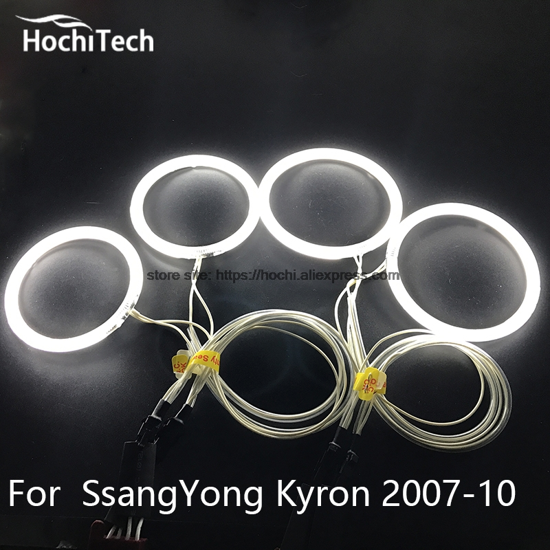 HochiTech ccfl angel eyes kit white 6000k ccfl halo rings headlight for SsangYong Kyron 2007 2008 2009 2010 for uaz patriot ccfl angel eyes rings kit non projector halo rings car eyes free shipping