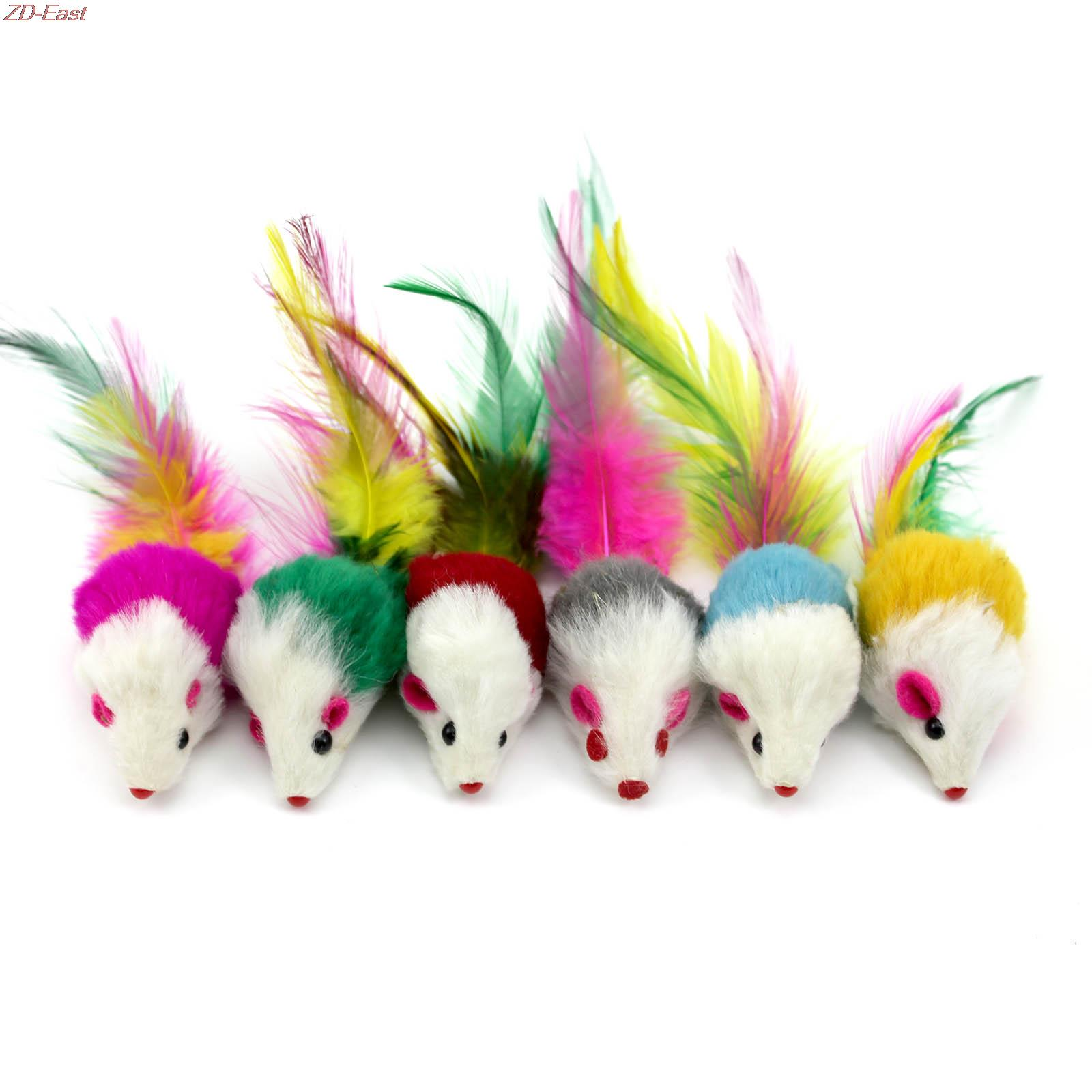 5pcs/lots Colorful Pet Cat Hamster Playing Catch Toy Faux Furry Mouse With Feather Tail Kid Toys