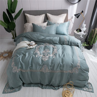 New 4/7Pcs soft Tencel bedding set queen king size bed set embroidery duvet cover bed sheet set pillowcase