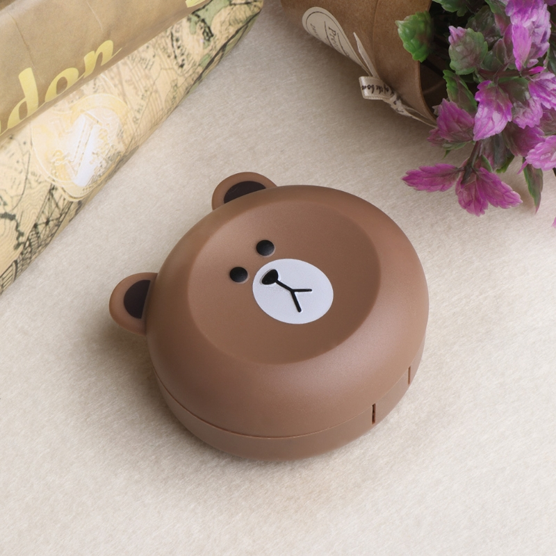 Cute Little Bear Contact Lens Case With Mirror Contact Lenses Box For Man And Women