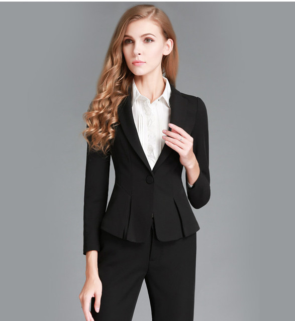 New 2016 Autumn Winter Fashion Women suits Custom made Black Tops Sets Elegant Female Business suit