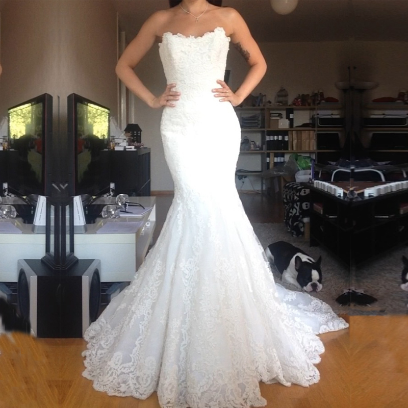 Real Pictures 2016 New Arrival Sweetheart Sleeveless Appliques Cheap Bridal Dresses vestido de noiva Mermaid Wedding Dresses image