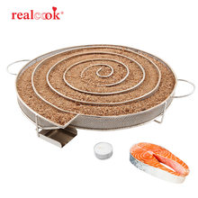 Realcook Cold Smoke Generator BBQ Grill Accessories Stainless Steel Mesh Wood Chips Smoker for Salmon Fish Barbecue Cooking Tool(China)