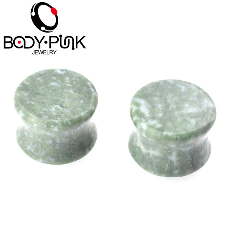 BODY PUNK Plugs Nature Stone Unakite Ear Gauge Plugs and Tunnels 22MM 25mm Ear Plugs 25mm Ear Tunnels Stone Plug 2pcs image