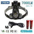 3 LED Headligh 7000 Lumens Cree XM-L T6 Head Lamp High Power LED Headlamp+2 3.7V  18650 battery+USB charger