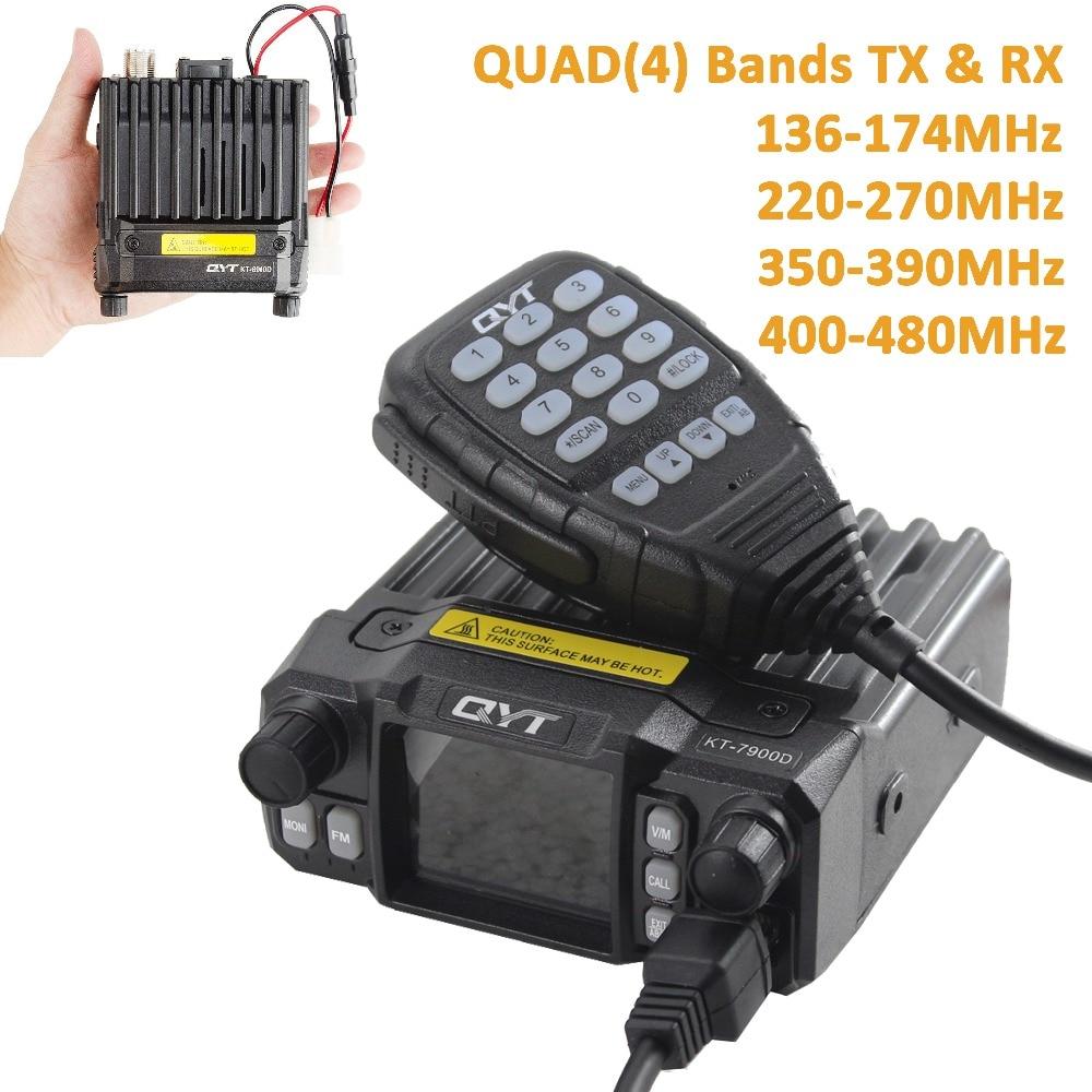 QYT KT 7900D 25W Quad Band Mobile radio 144 220 350 440MHZ 4 Bands FM Transceiver