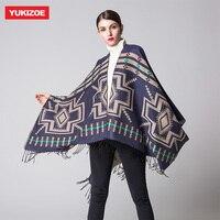 Winter Fashion Poncho Women's Fashion Ethnic Scarves Thicken Shawl Scarf YU060