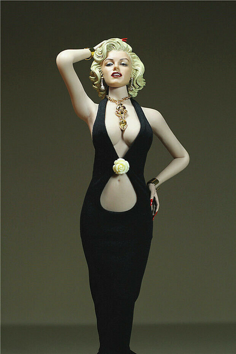 1 6 sexy girl Black evening Dress Necklace Clothing for Marilyn Monroe head fit 12 quot TBLeague Phicen Big Bust Female Body Toy in Action amp Toy Figures from Toys amp Hobbies