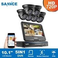 SANNCE 8CH 4 в 1 TVI AHD HDMI DVR 720 P 6 шт. IR наружная защищенная от атмосферных воздействий cctv камера домашняя система безопасности комплекты видеонаблюд...