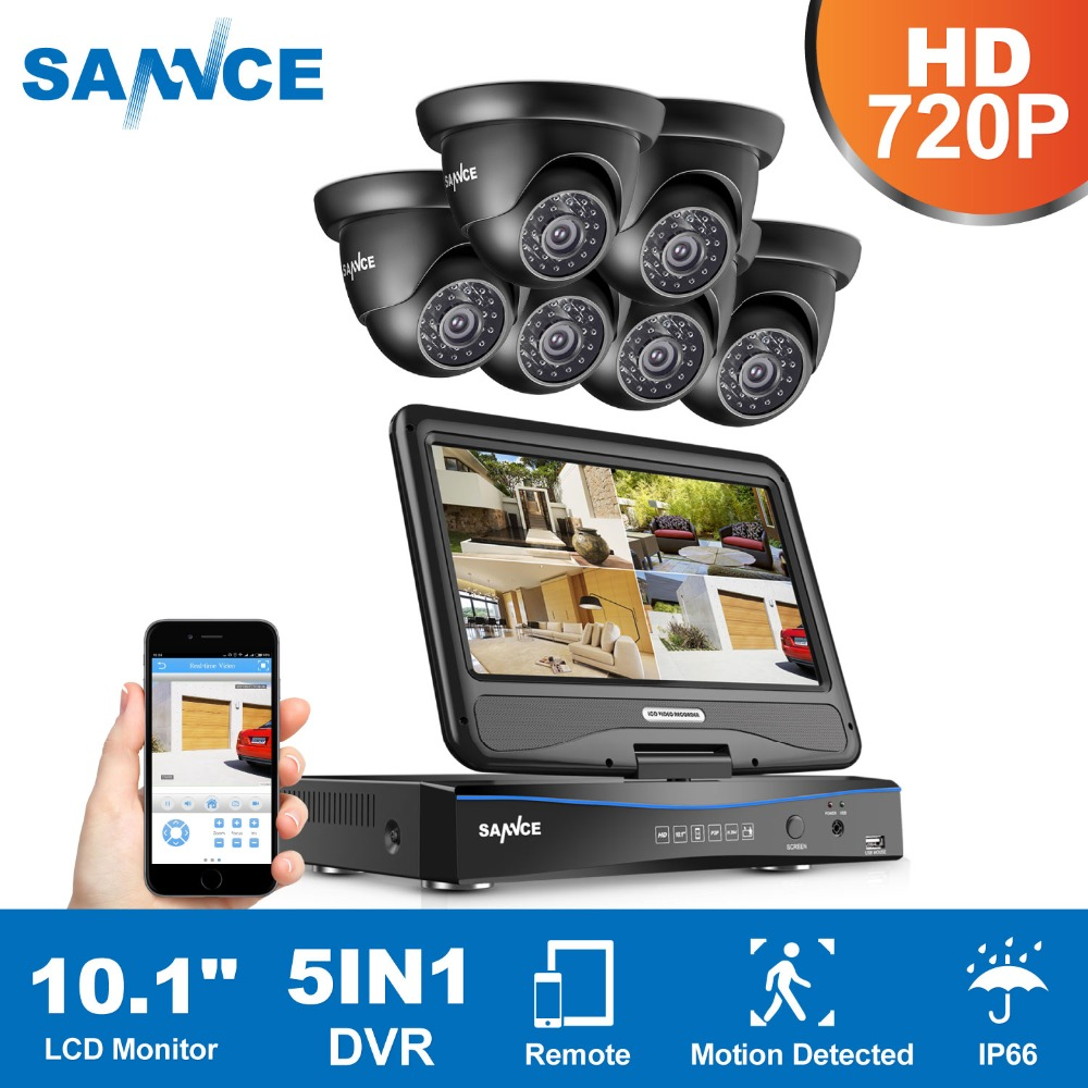 SANNCE 8CH 4 in 1 TVI AHD HDMI DVR 720P 6PCS IR Outdoor Weatherproof CCTV Camera Home Security System Video Surveillance Kits annke 8ch 5 in 1 dvr kits surveillance camera hd 720p tvi cctv security system 1080n dvr kit 1280tvl outdoor weatherproof video