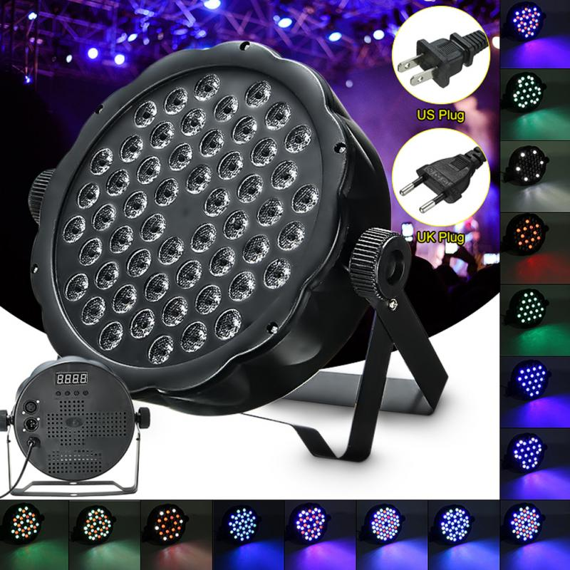 цена 54-LED Stage Light DJ Party Colorful Spot Light Indoor EU plug, US plug RGB Ballroom Show Lighting 54W for KTV Bar Stage
