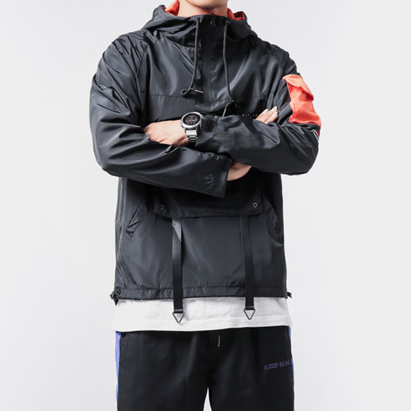 Spring New Arrive Big Pocket Jacket Mens Loose Sport Hoodie Hip Hop Long Sleeve Fashion Coat Male