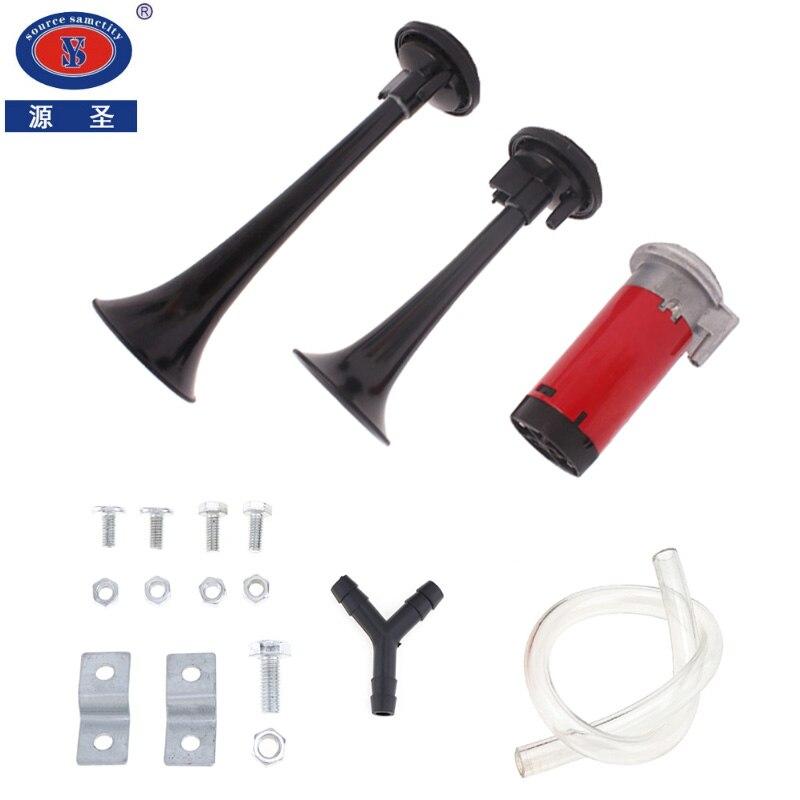 YUANSHENG Universel 110DB Super Fort Double Trompette Air Horn Kit Avec 12 V Compresseur D'air Pour Voiture/Camion/véhicule/Train/Moto