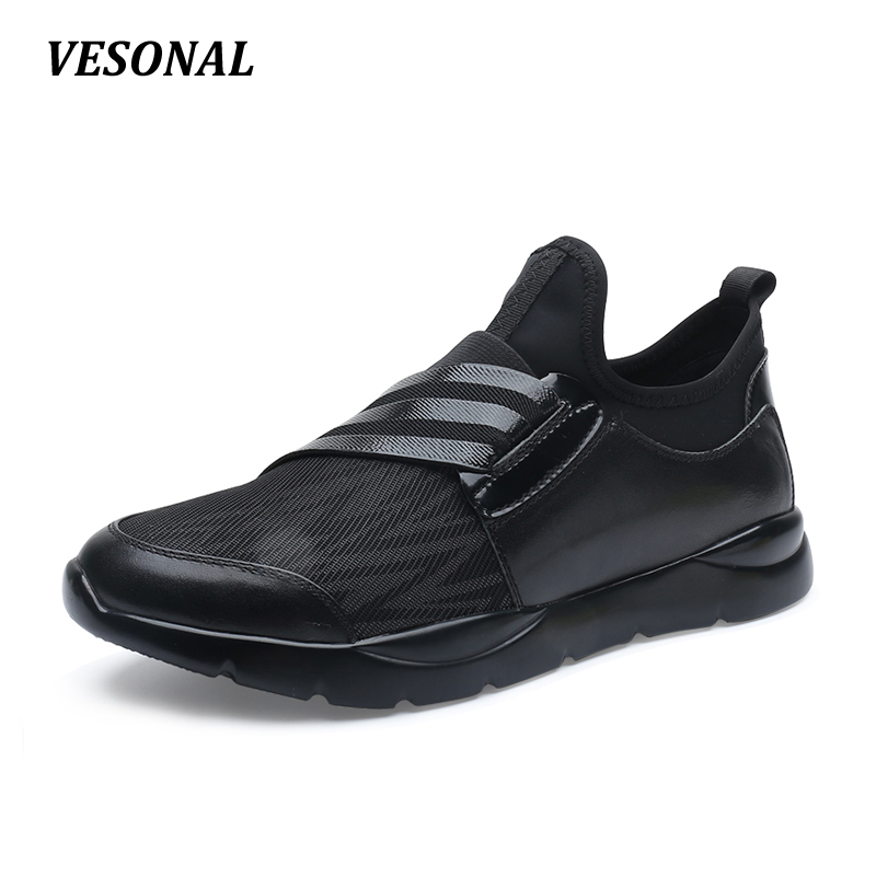 VESONAL Striped Slip On Mens Genuine Leather Lycra Patchwork Shoes Casual Breathable Men Shoes Outdoor Walking Black SD7080 vesonal 2017 top quality lycra outdoor ultralight slip on loafers men shoes fashion stripe mens shoes casual sd7005